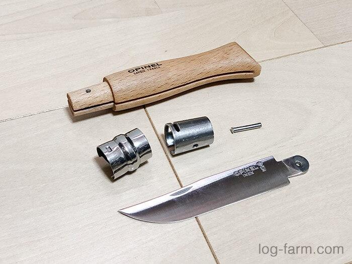 オピネルナイフの分解完了