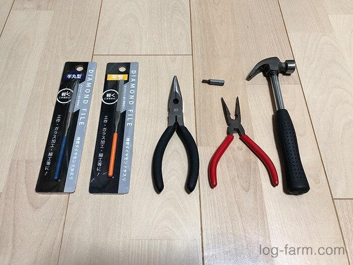 オピネルナイフ分解のための工具