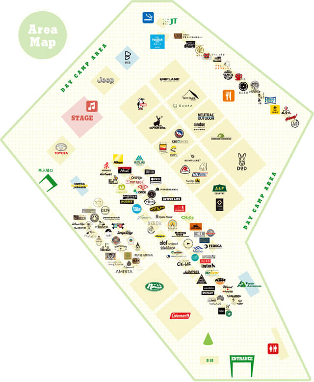 アウトドアパーク2019の会場全体MAP