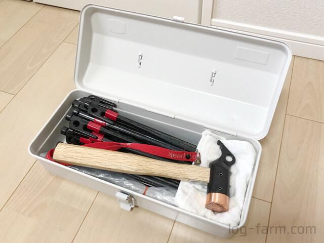無印良品のスチール工具箱4をペグ&ハンマーケースとして使用
