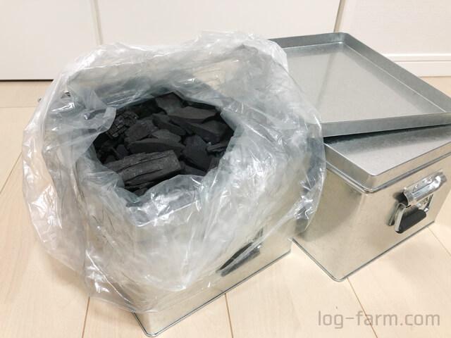 無印良品のトタンボックスをキャンプの炭入れ箱として活用