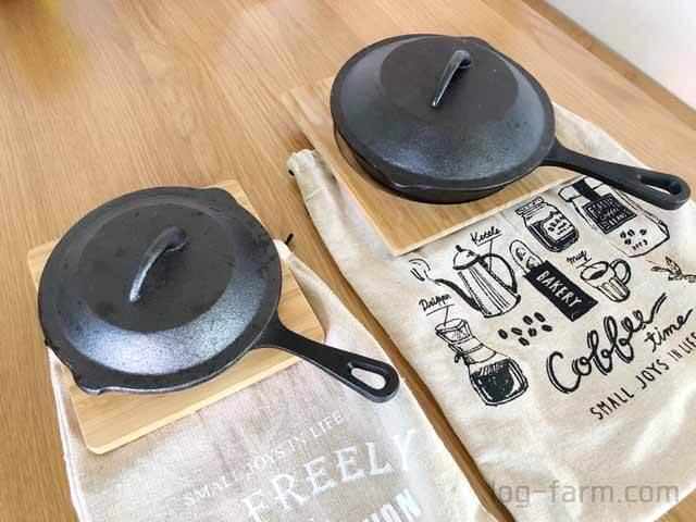 ニトリのスキレットとセリアの収納袋