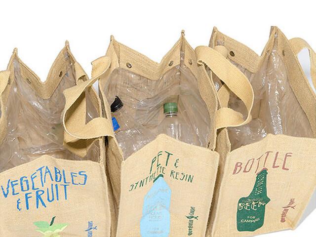 Oregonian Camper ジュートダストバッグにゴミ袋を設置