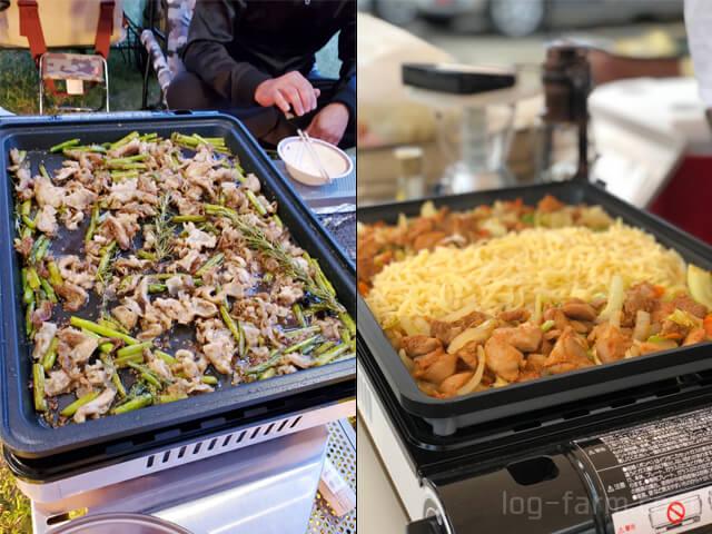 焼き上手さんαを使ったアスパラと豚肉のオリーブオイル炒めとチーズダッカルビ
