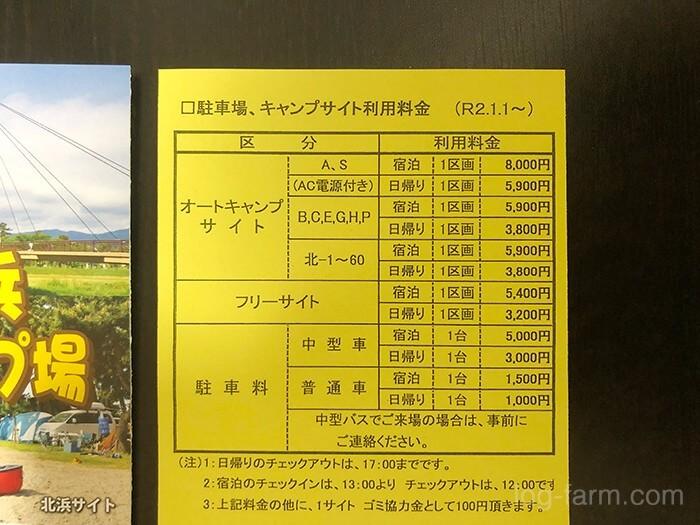 知内浜オートキャンプ場のサイト利用料金