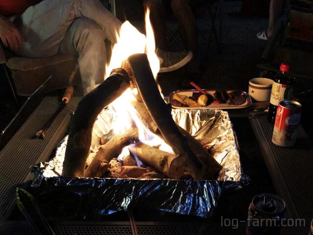 洞川キャンプ場で焚き火