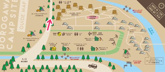 洞川キャンプ場の案内マップ