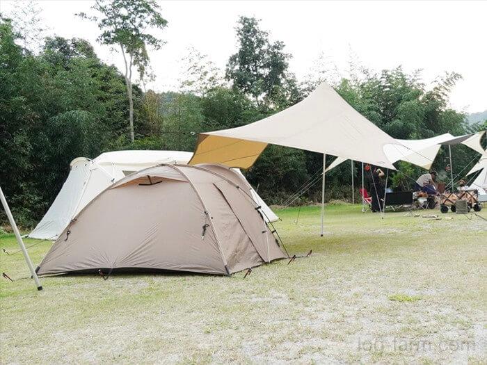 【2020秋】カルディアキャンプ場のフリーサイトに出撃!テントの小川張りも