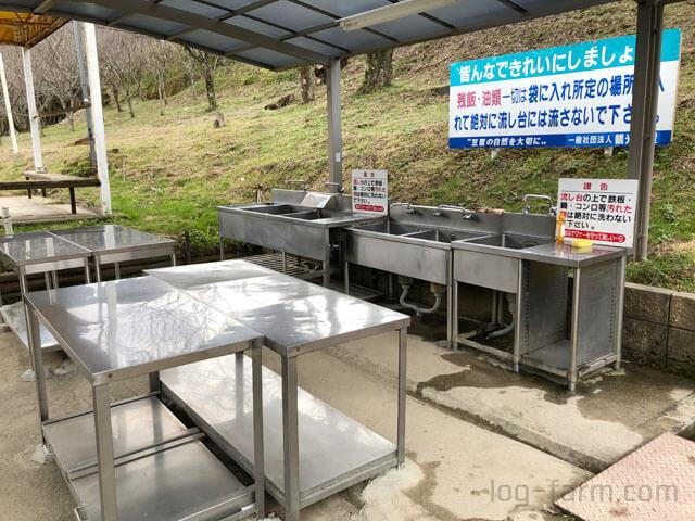 笠置キャンプ場の洗い台