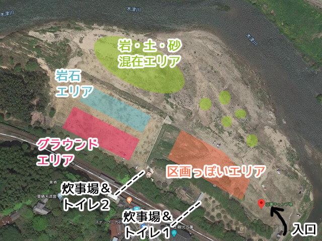笠置キャンプ場の全体MAP