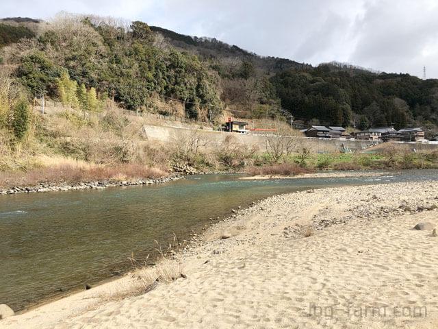 笠置キャンプ場前の木津川