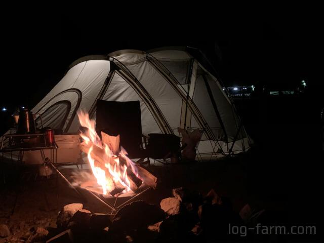 笠置キャンプ場で焚き火