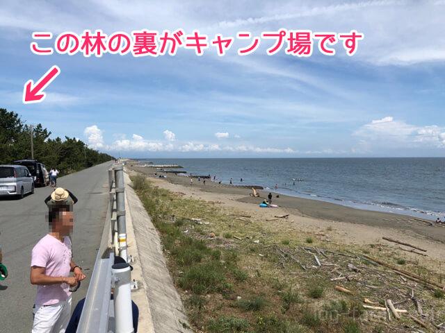 大淀海岸とキャンプ場の間の道