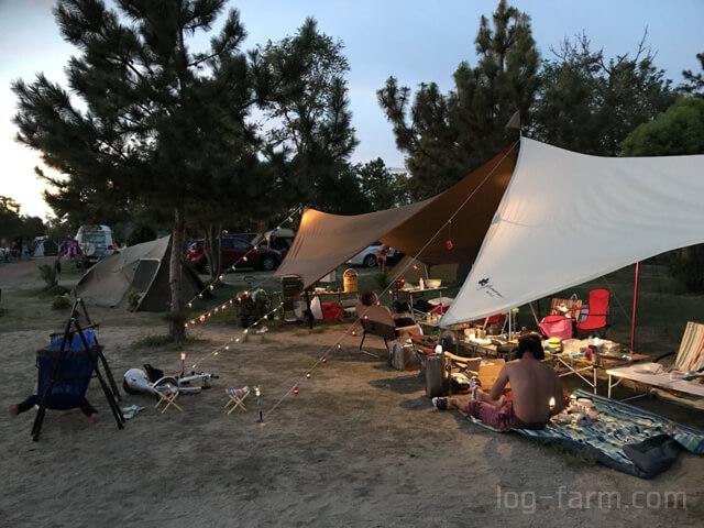 夕方の大淀西海岸ムーンビーチキャンプ場