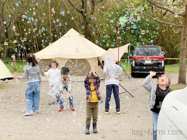 シャボン玉を追いかける子供たち