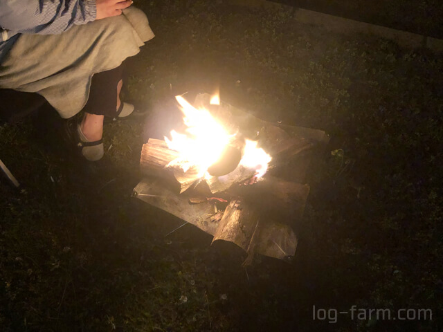 ユニフレームのファイアスタンド2で焚き火
