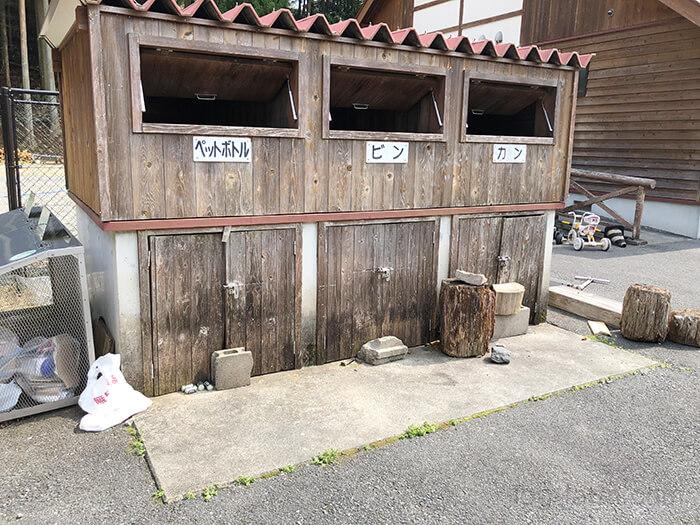 白川渡オートキャンプ場のゴミ置き場