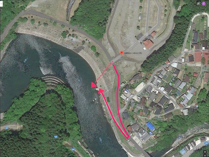 白川渡オートキャンプ場から吉野川へのルート