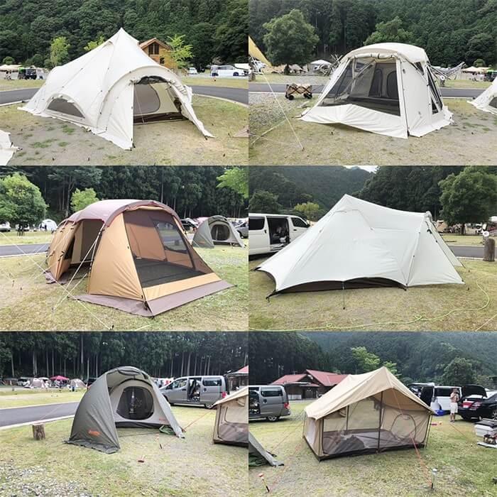 白川渡オートキャンプ場に設営した6つのテントやシェルター