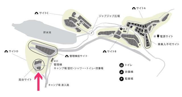 スノーピーク箕面のキャンプフィールドマップ