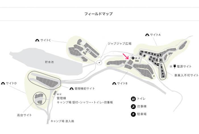 スノーピーク箕面キャンプフィールドのマップ
