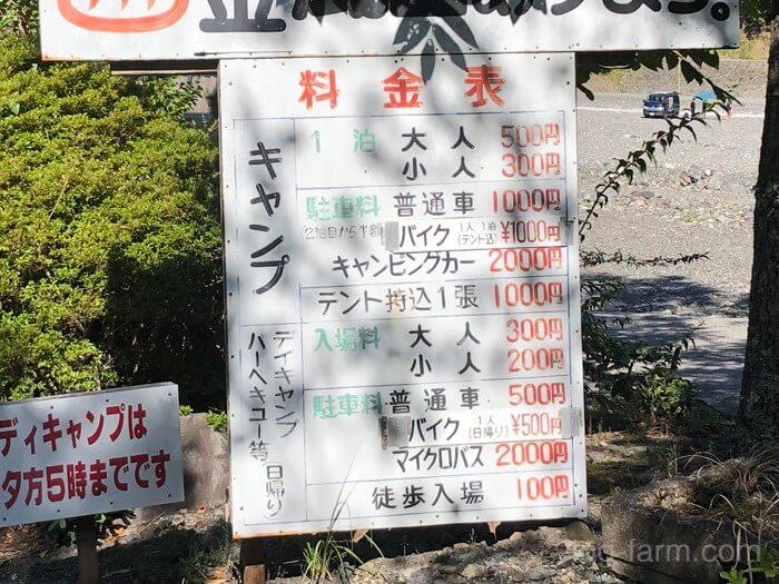 谷瀬つり橋オートキャンプ場の料金表