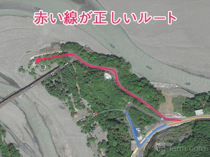 谷瀬つり橋オートキャンプ場への正しいルート