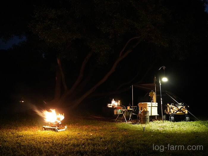 田の浦野営場で焚き火