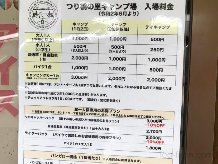 つり橋の里キャンプ場の料金表