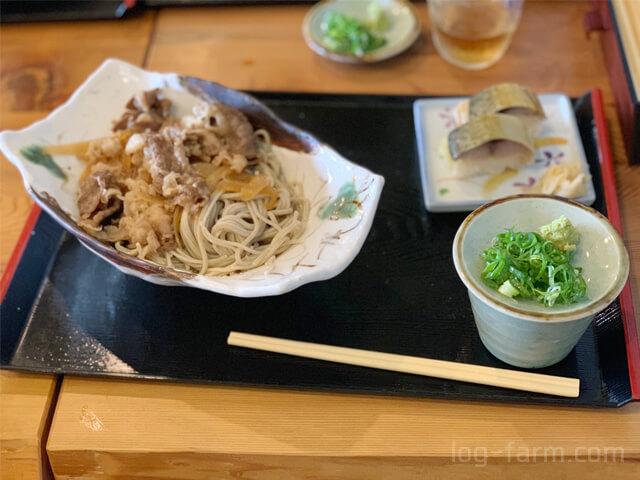 冷やしそば鯖寿司セット