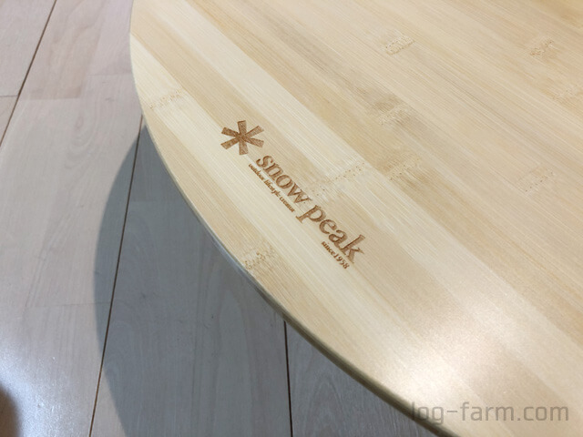 ワンアクションちゃぶ台竹のスノーピークのロゴ