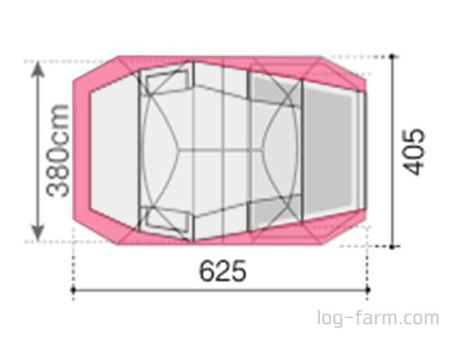 ランドロックの上からエルフィールドの形状を半透明にして重ねた図
