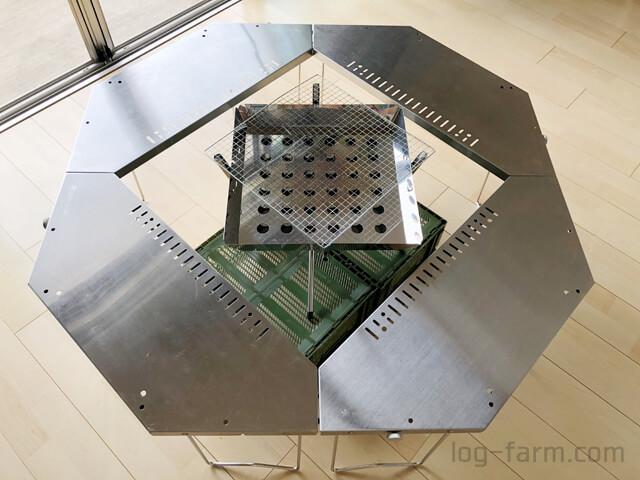 ジカロテーブル焚火台モード+ファイアグリル+アルティメットコンテナL