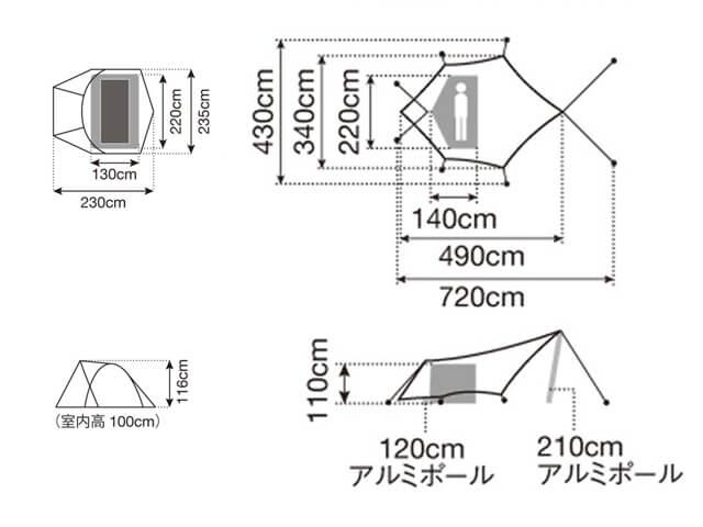 ミニッツドームPro.air1とヘキサイーズ1の設営図の比較