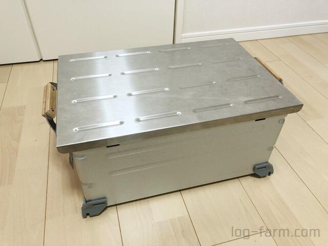 Myテーブル SUSトップをシェルコンテナ25のフタに転用