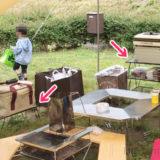 キャンプで使用中のフィールドラック