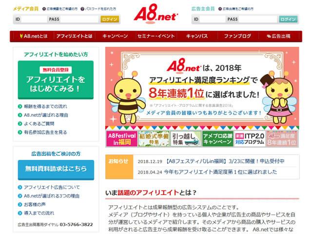 A8.netの公式サイト