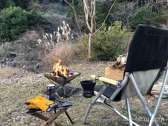 つつじの里荒滝キャンプ場で焚き火