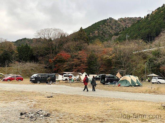 黄和田キャンプ場は車の横付けができる全面フリーサイト