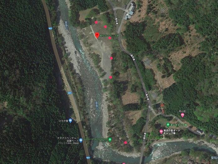 黄和田キャンプ場の炊事場の位置
