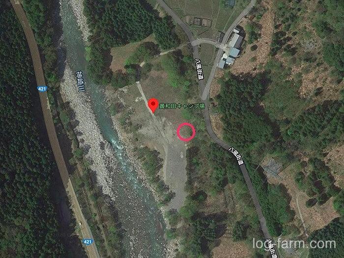 黄和田キャンプ場のトイレの位置
