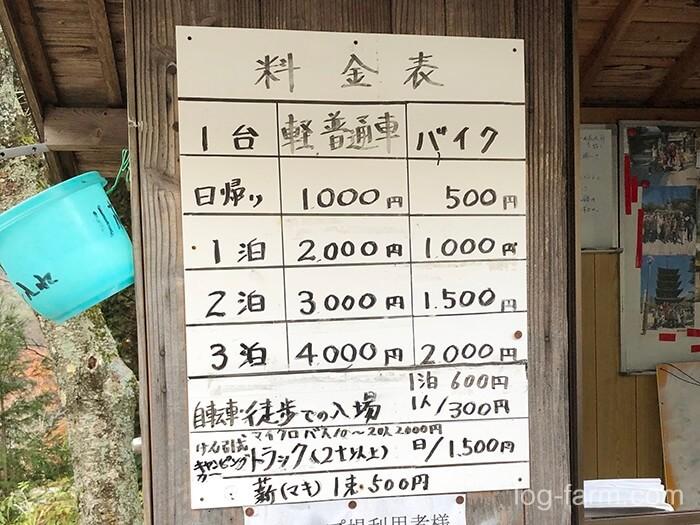 黄和田キャンプ場のサイト料金がとてもリーズナブル