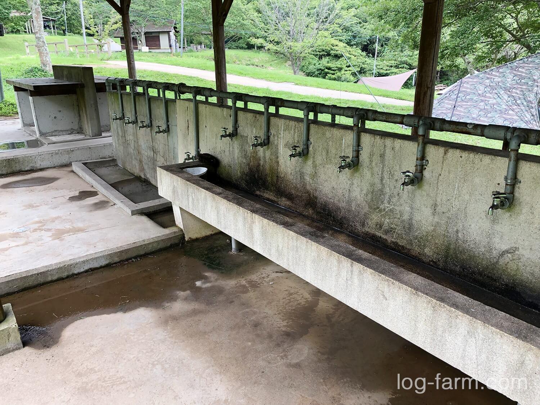 食器や焚き火台を洗う洗い場