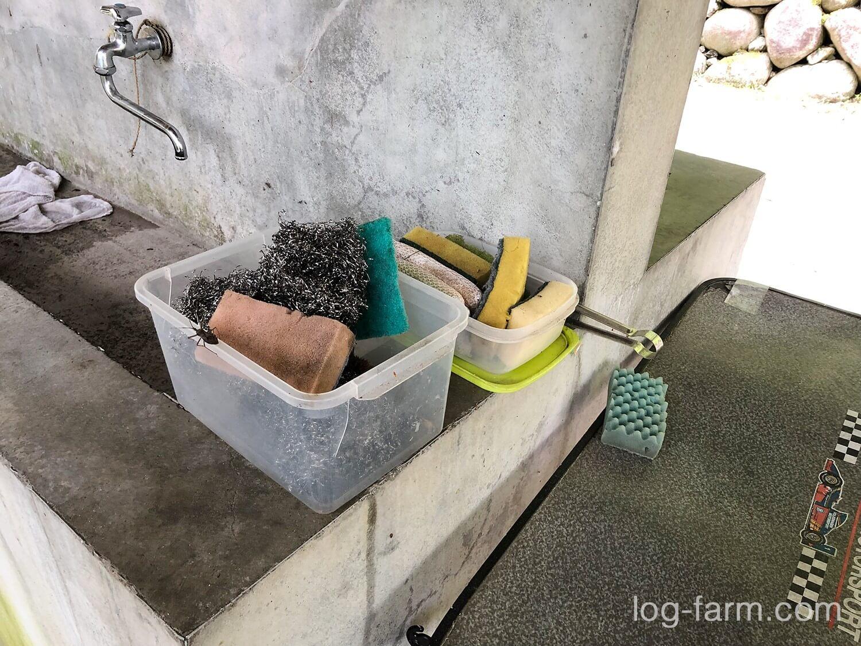 深山キャンプ場の洗い物セット