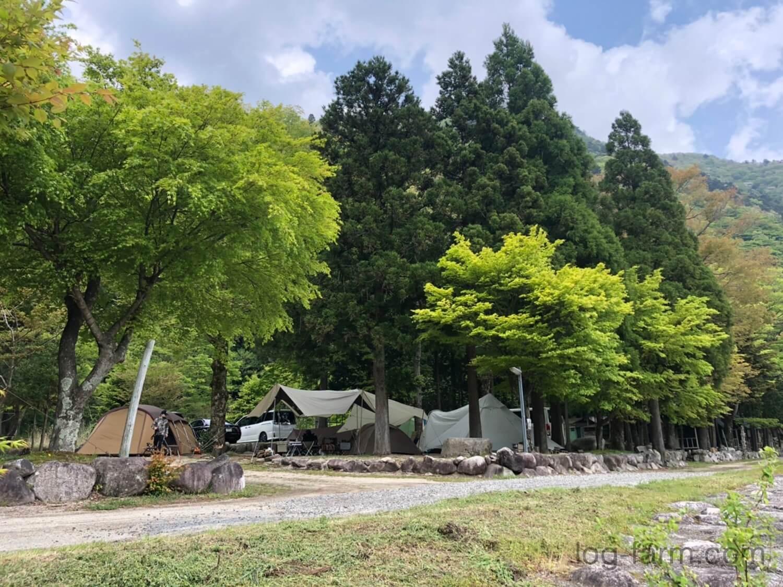 森と川に挟まれた自然豊かな深山キャンプ場のサイト