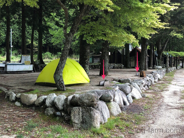 深山キャンプ場のサイトに置かれているU字ブロック