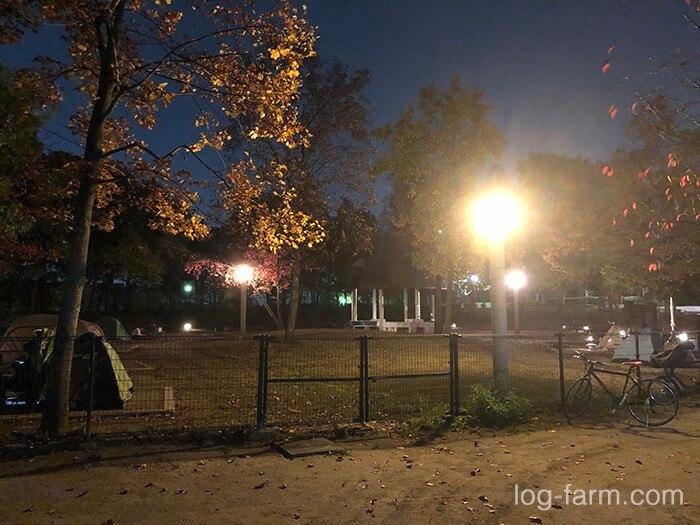 夜の鶴見緑地キャンプ場