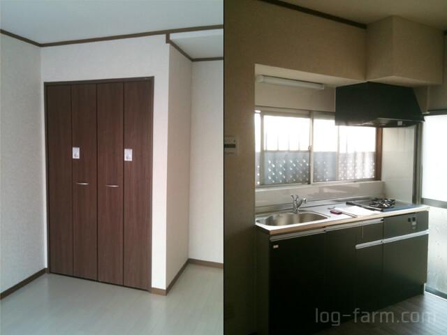 リフォーム後の洋室とキッチン