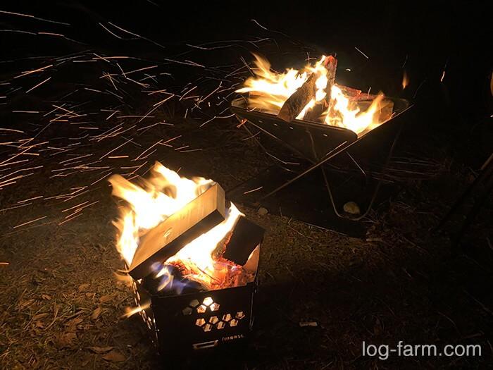 荒滝キャンプ場で焚き火