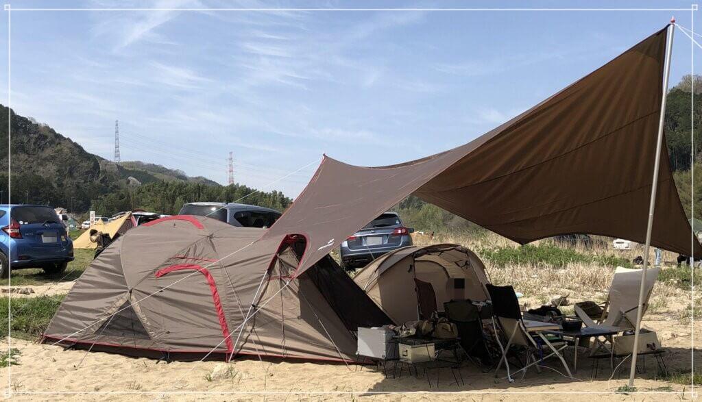【ランドブリーズPro.3初張り】笠置キャンプ場でお花見グルキャン
